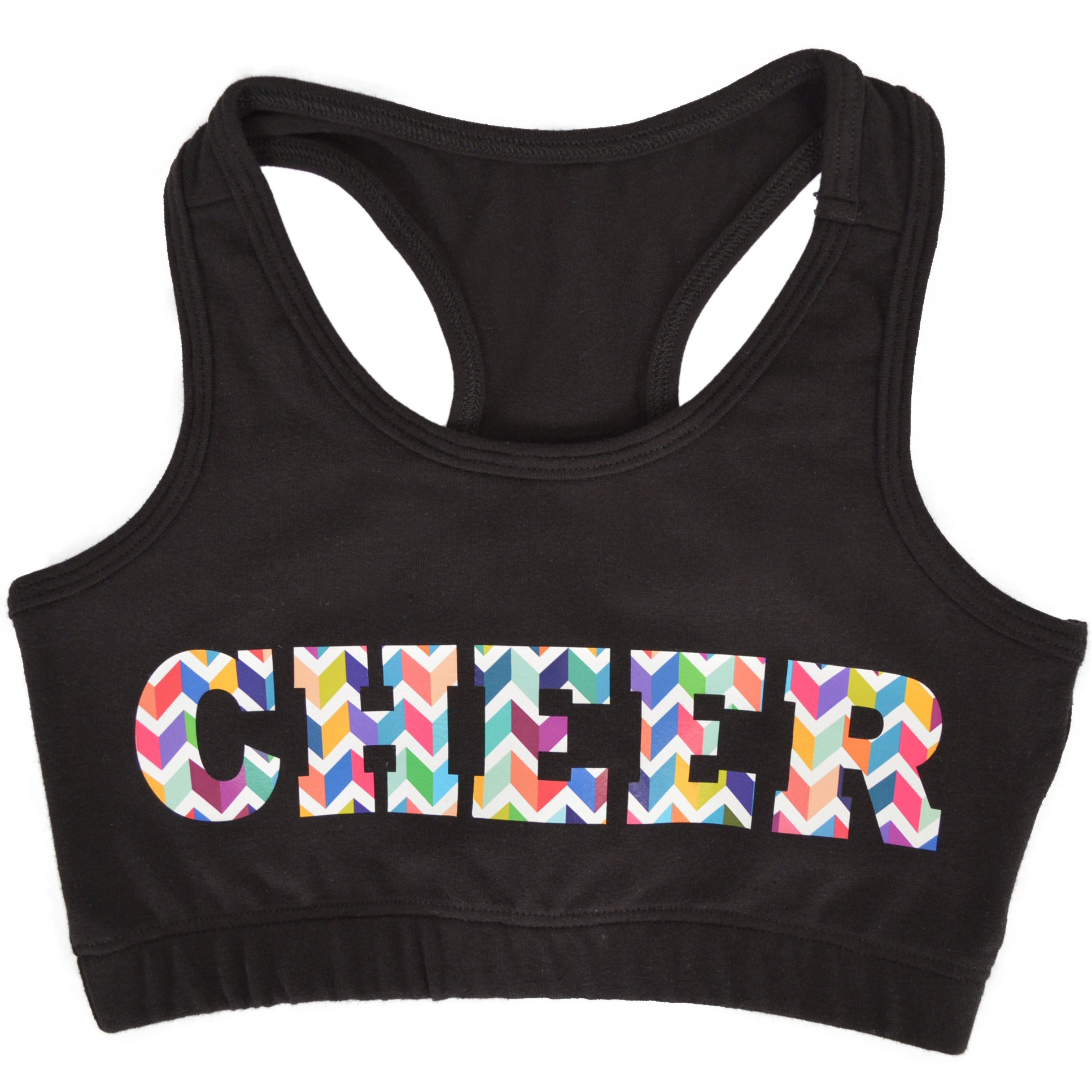 Girl's Racerback Sports Bra Cheer in Chevron