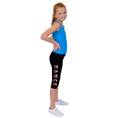 Girl's Glitter DANCE Foldover Capri Leggings