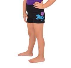 Girl's Vinyl Pink Heart Unicorn Yoga Shorts
