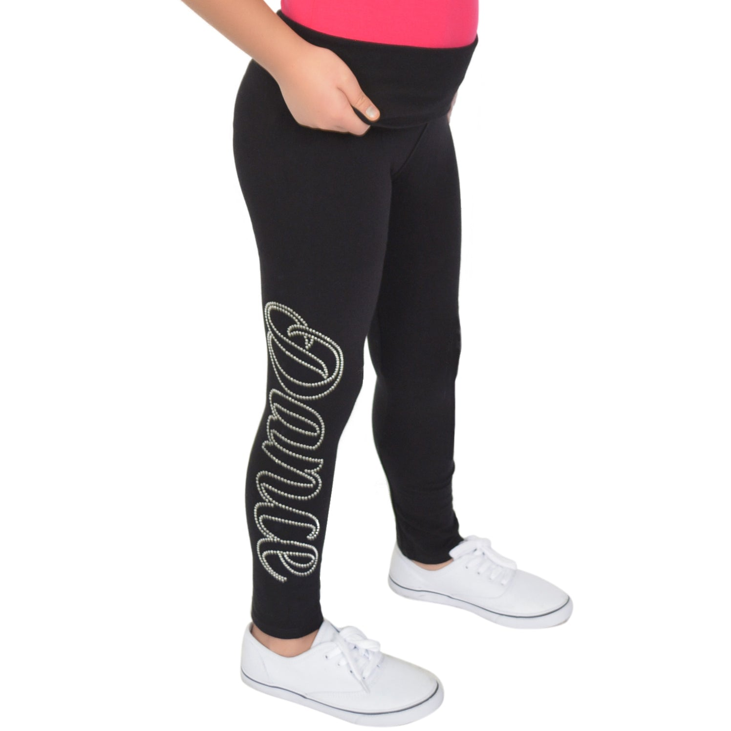 Girl's Dance Rhinestone Foldover Cotton Leggings