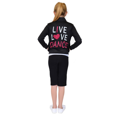 Girl's Rayon Live Love Dance Warm Up Jacket