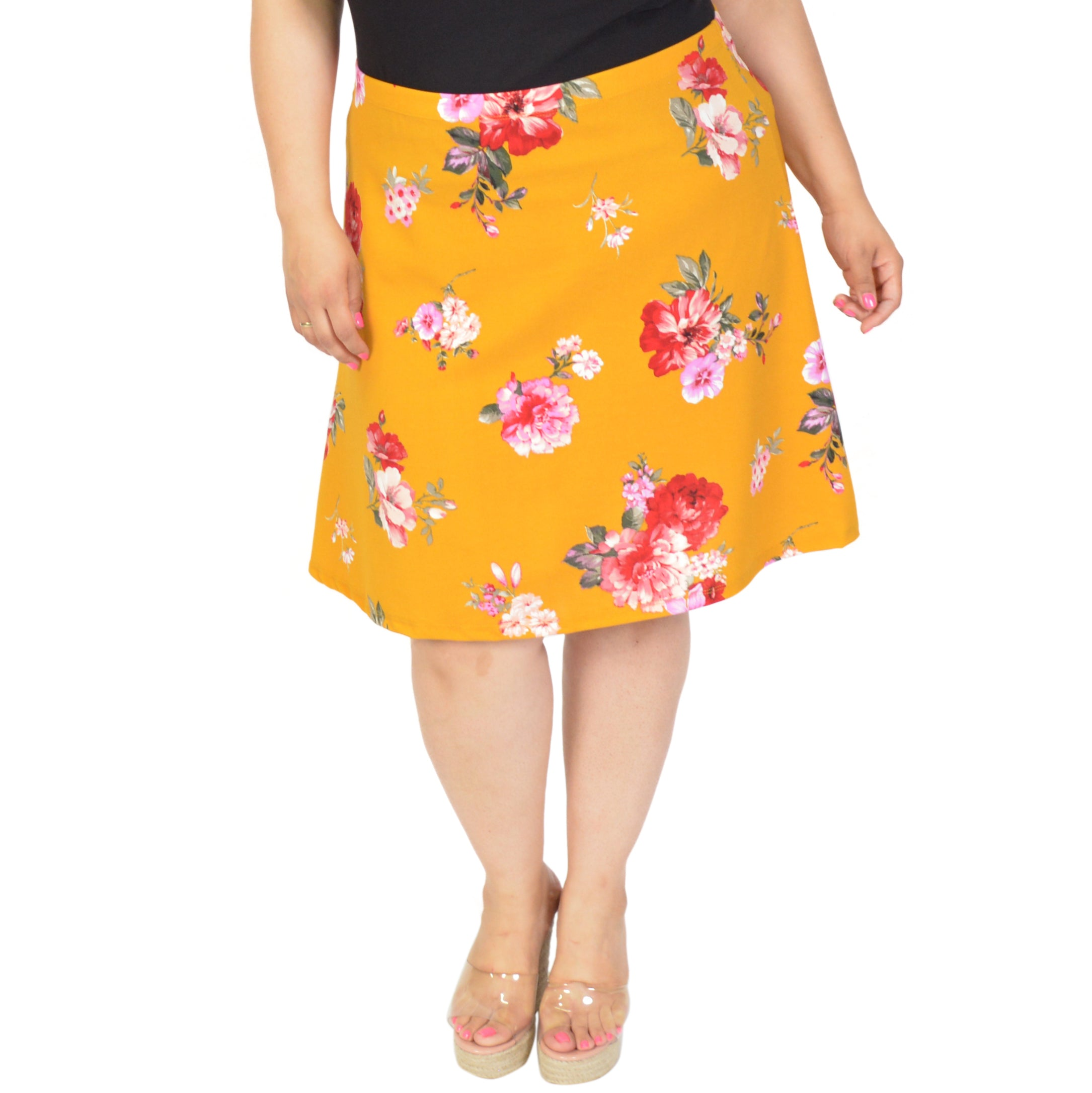 Plus Size Multi Floral A-Line Skirt