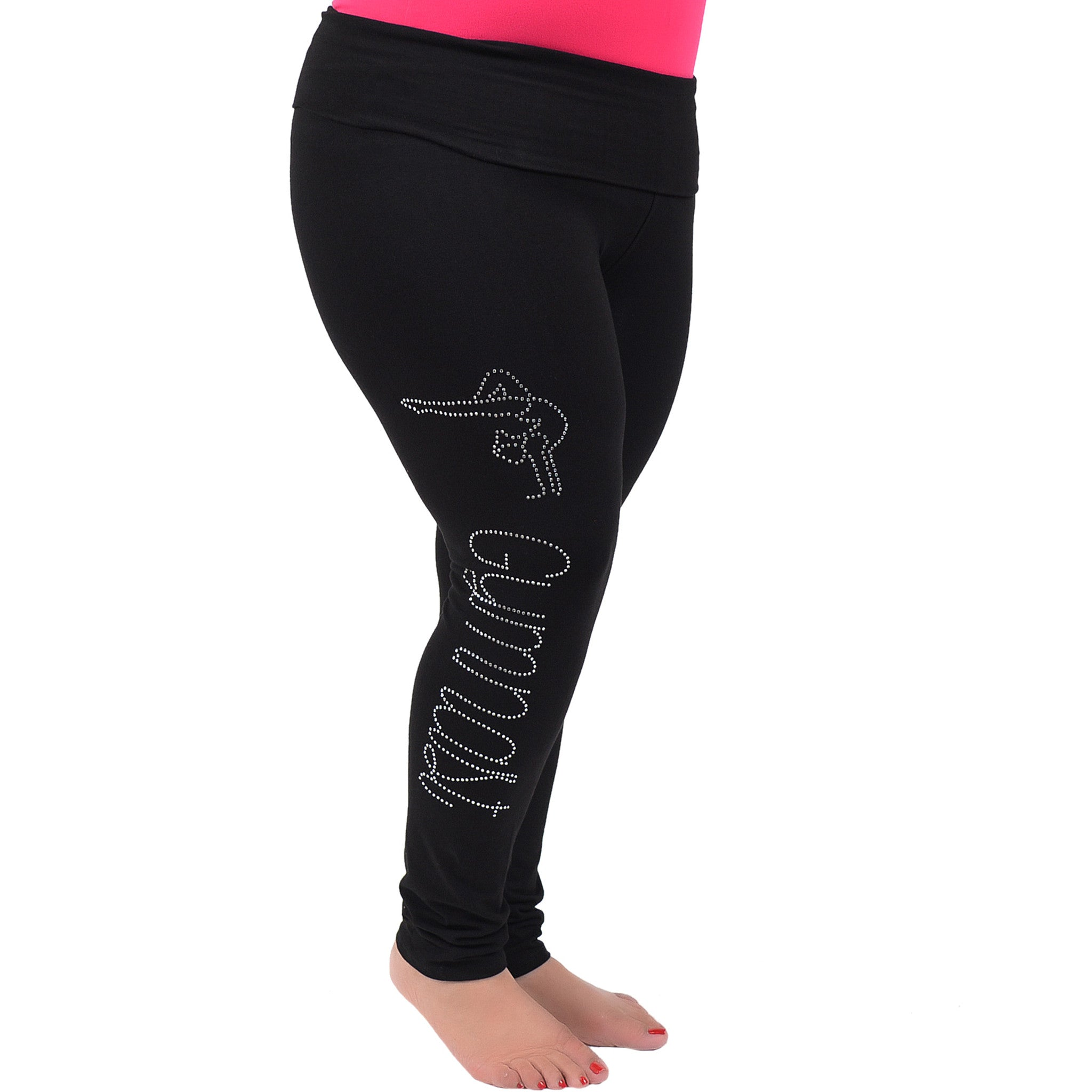 Plus Size Gymnast Rhinestone Foldover Cotton Leggings