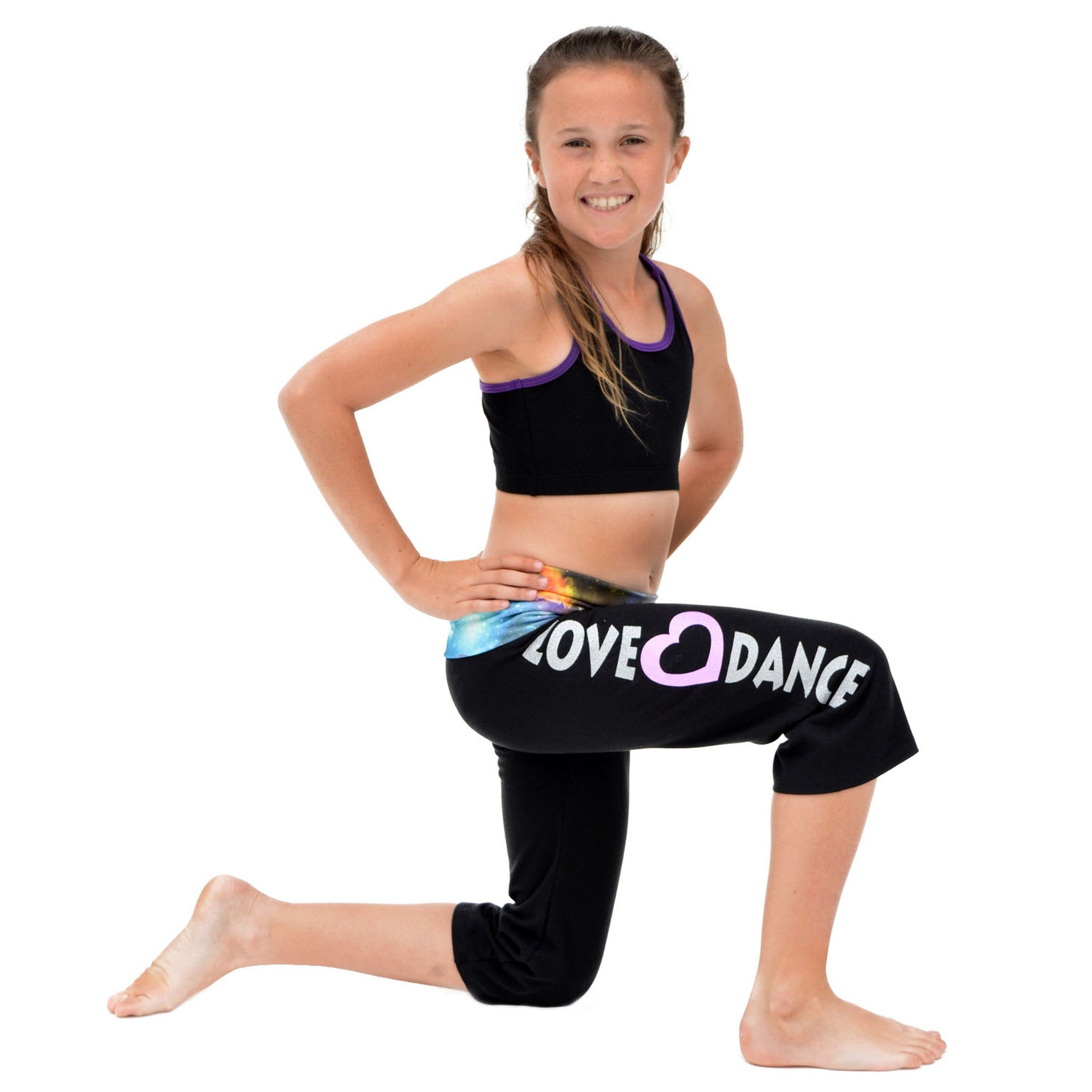 Girl's Capri LOVE DANCE Yoga Pants Galaxy
