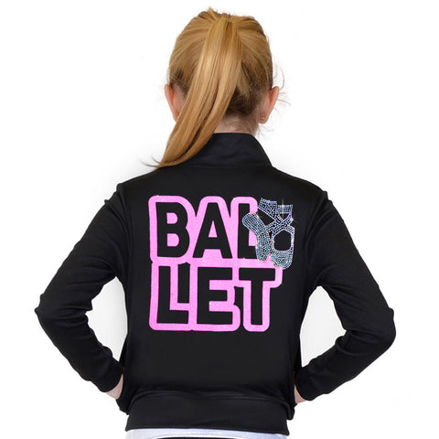 Girl's and Women's Rhinestone Ballet Performance Jacket with Pockets