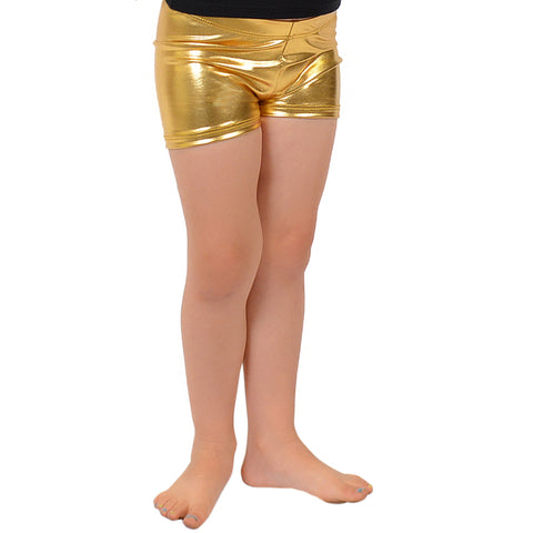 Girl's Foil Metallic Booty Shorts