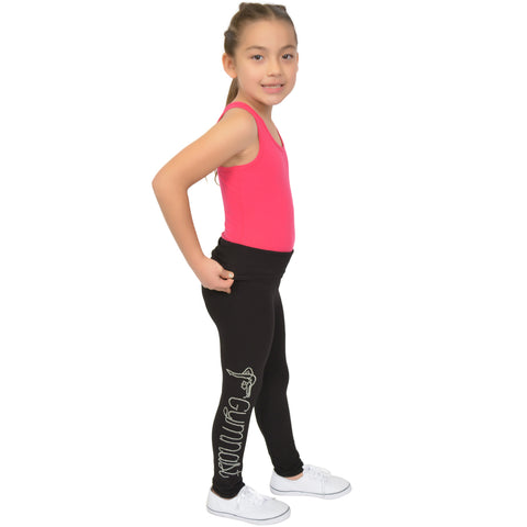 Girl's Gymnastics Rhinestone Foldover Cotton Leggings