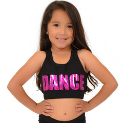Girl's Cotton Sequin Sports Bra