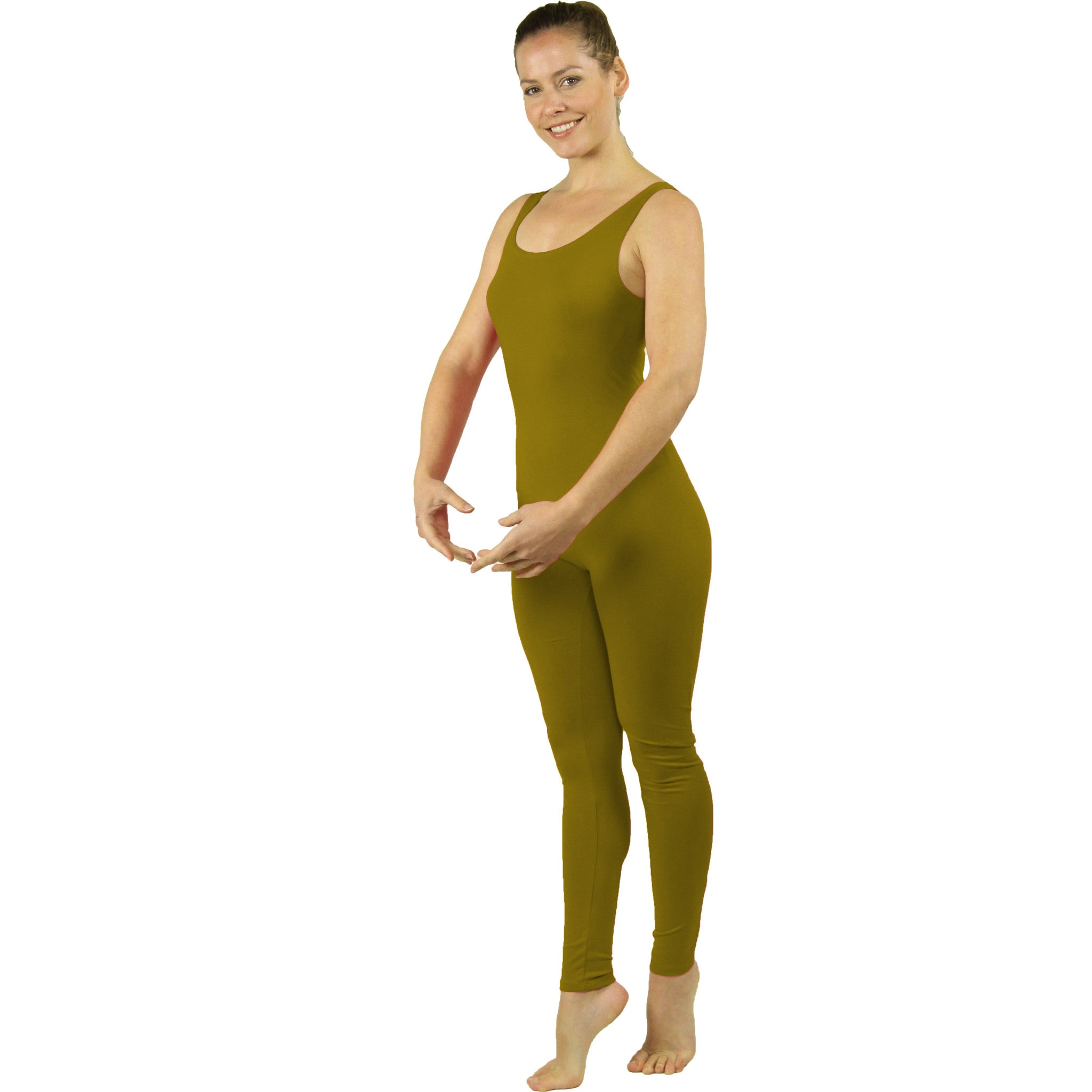 Plus Size Ankle Length Cotton Tank Unitard
