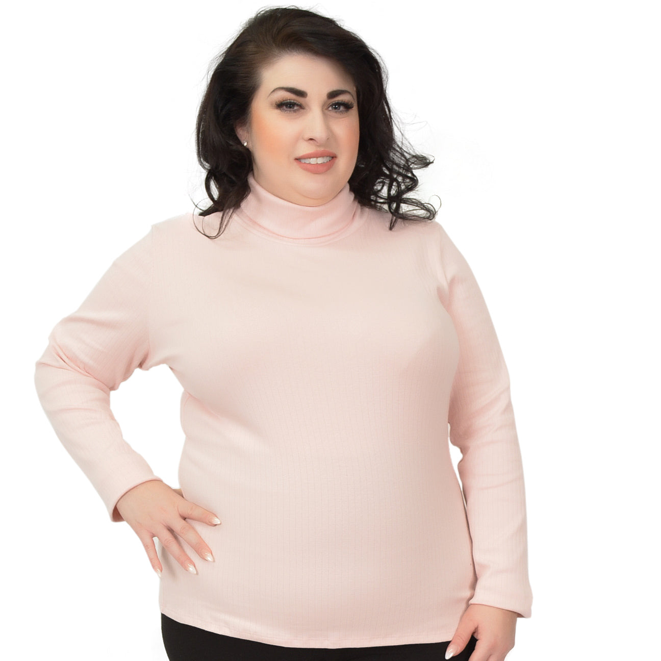 Plus Size Warm Long Sleeve Turtleneck Top
