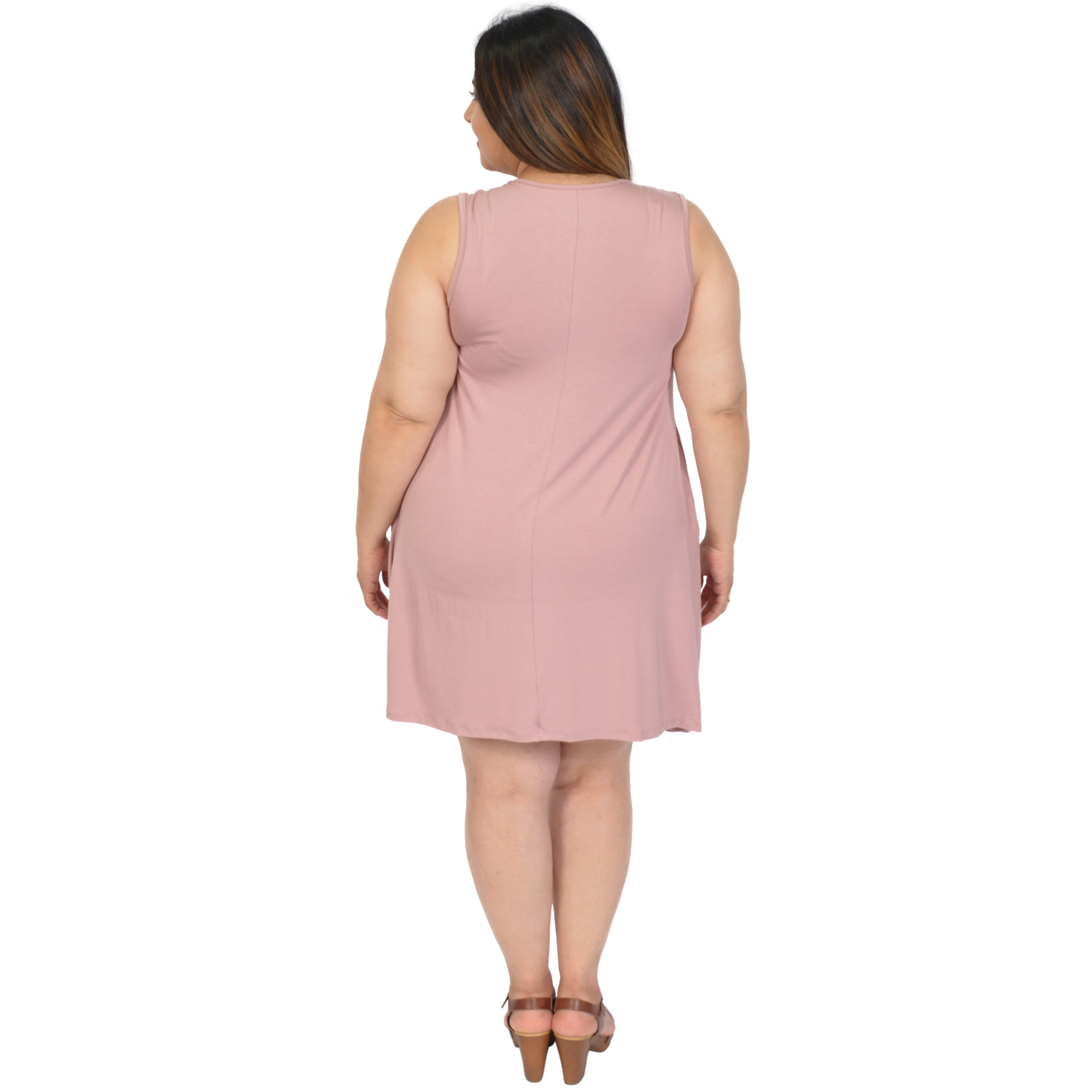 Women's Regular and Plus Size Tank Crew Neck Shift Dress with Pockets