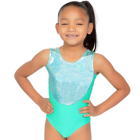 Girl's Metallic And Nylon Neon Leotard