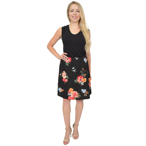 Women's Multi Floral A-Line Skirt