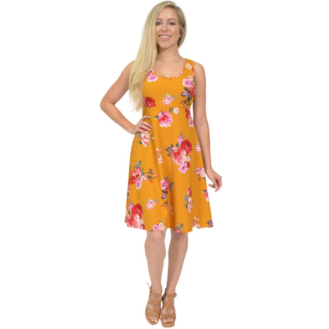 Women's Regular and Plus Size Tank Knee Length Floral Dress