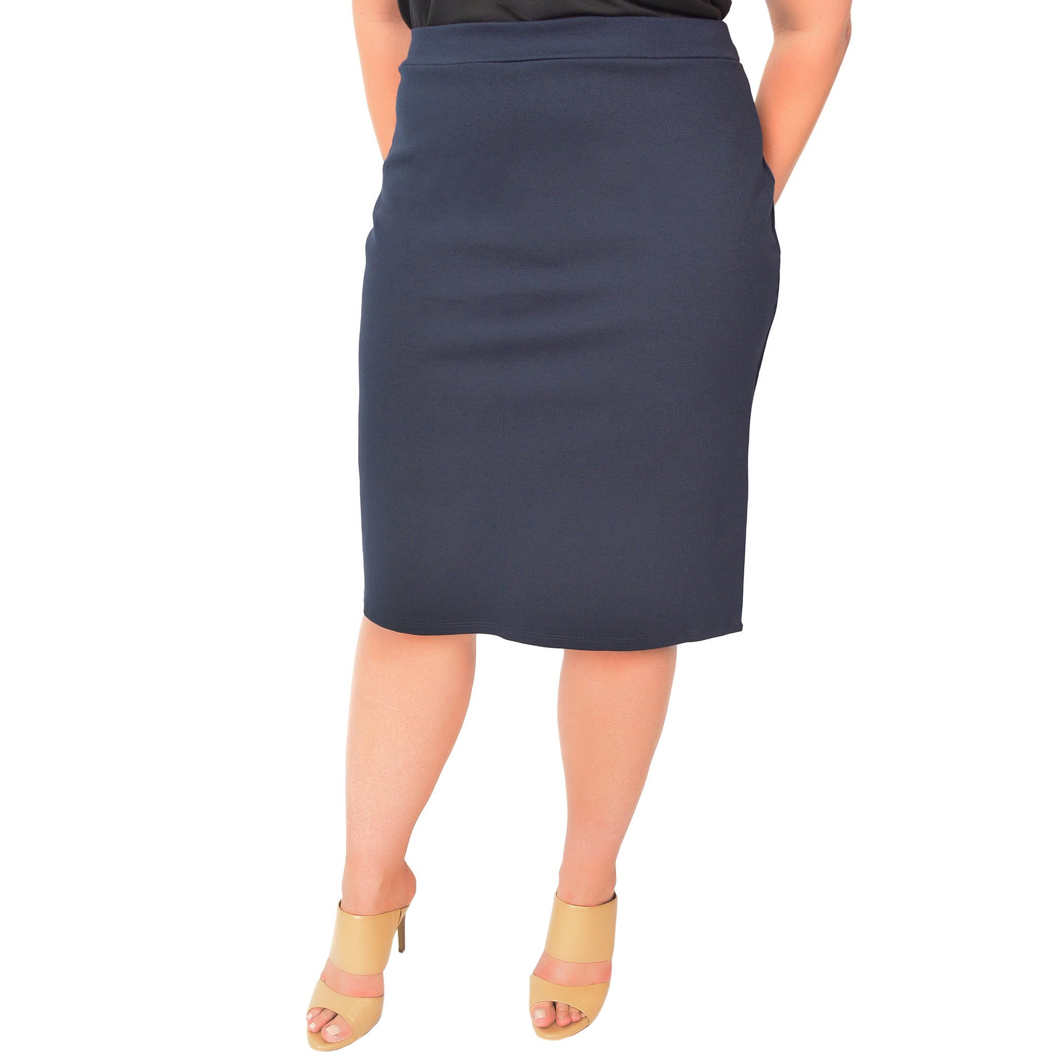 Plus Size Knee Length Pencil Skirt With Slit