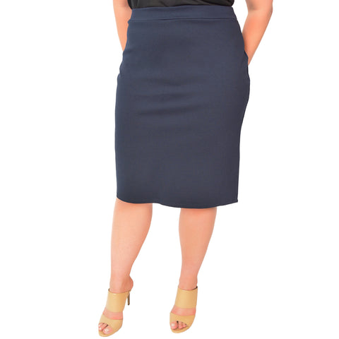 1aba49024b2c8 Plus Size Knee Length Pencil Skirt With Slit. Plus Size Knee Length Pencil  Skirt With Slit · Stretch Is Comfort