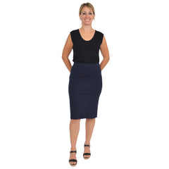 Women's Knee Length Pencil Skirt With Slit