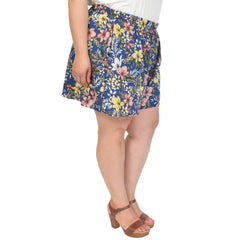 Stretch Is Comfort Women's and Plus Size A-Line Floral PRINT Skort (Skirt / Shorts) With Pockets