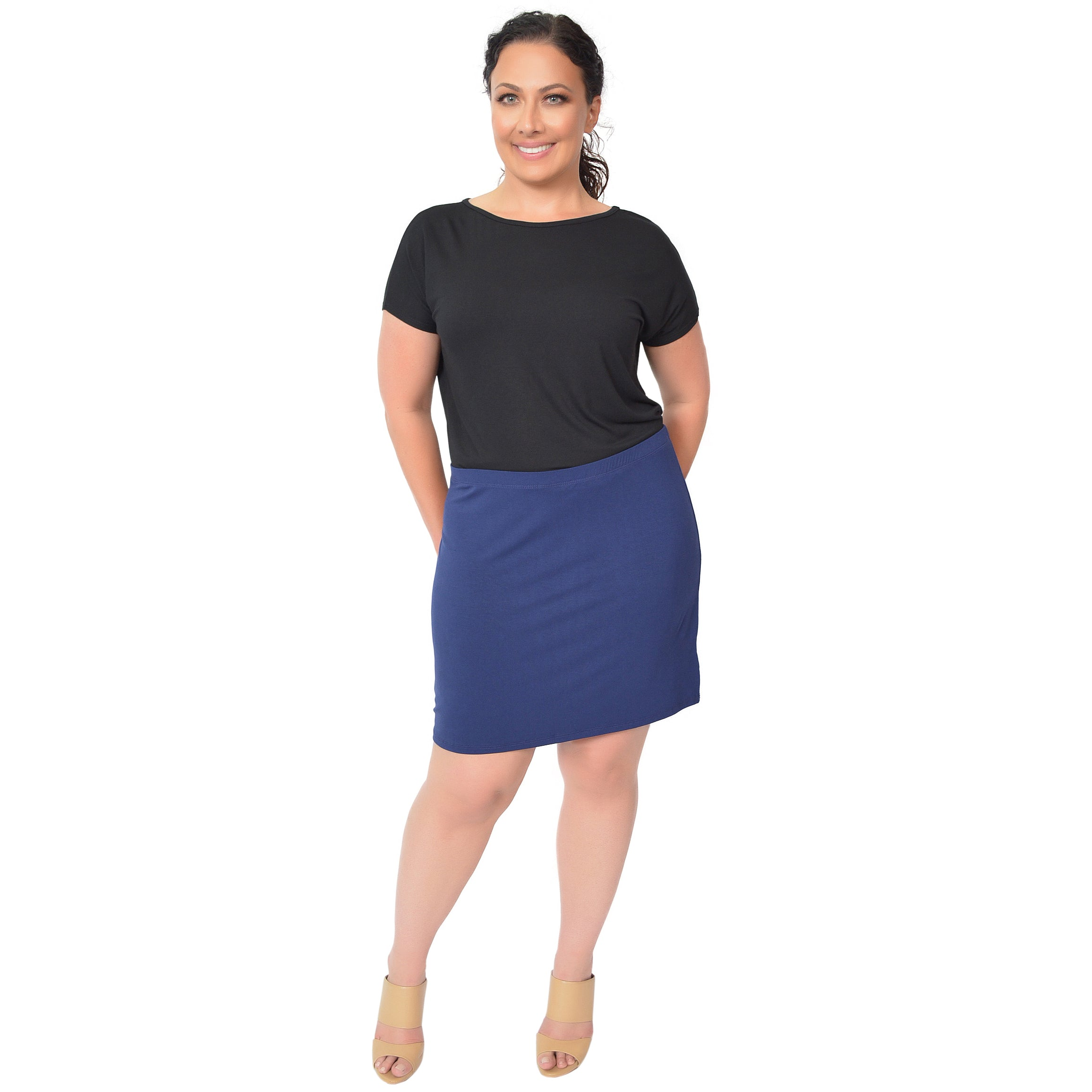 Plus Size Rayon Mini Skirt