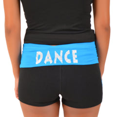 Women's Glitter Heart Dance Foldover Yoga Shorts