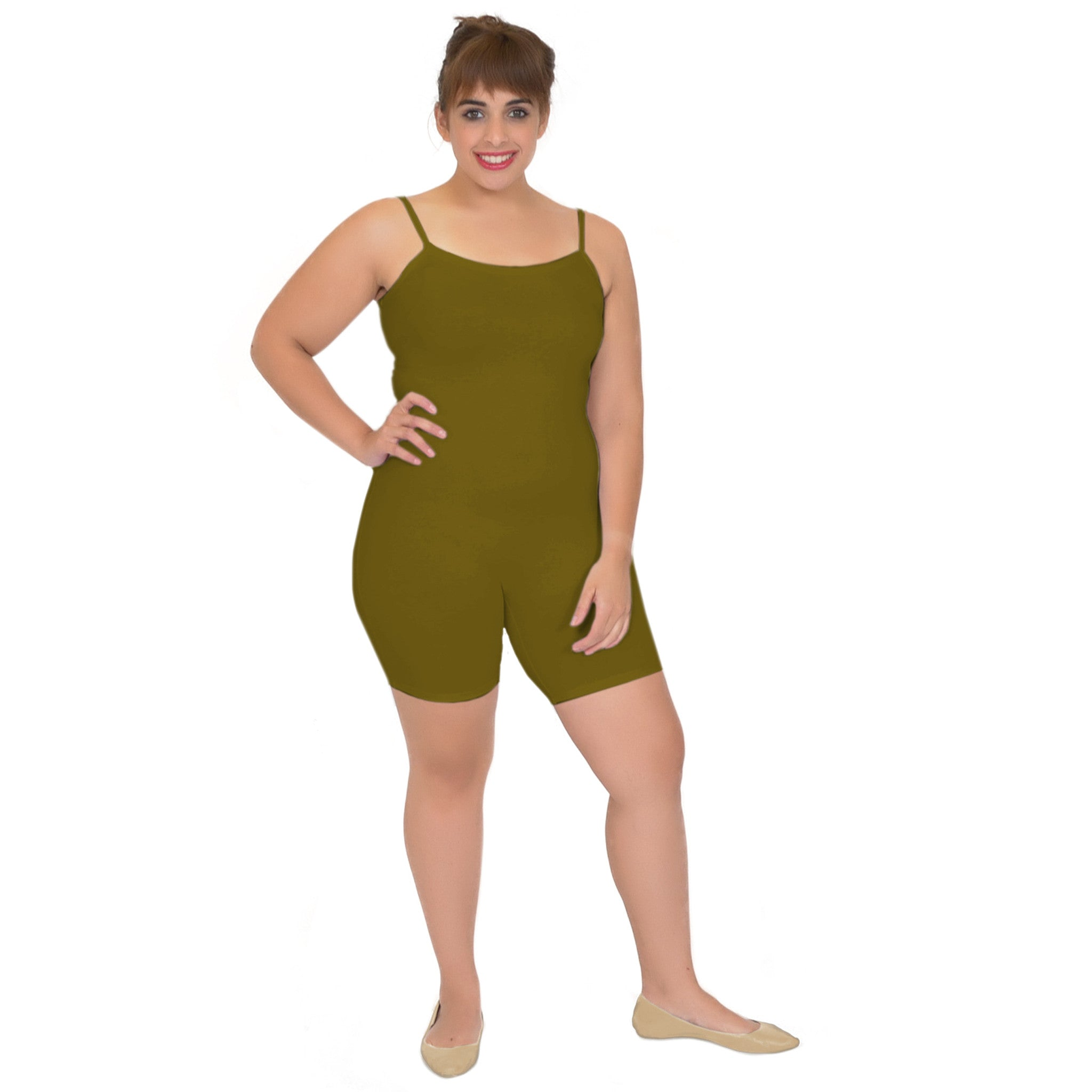 Plus Size Cotton Camisole Unitard Shorties