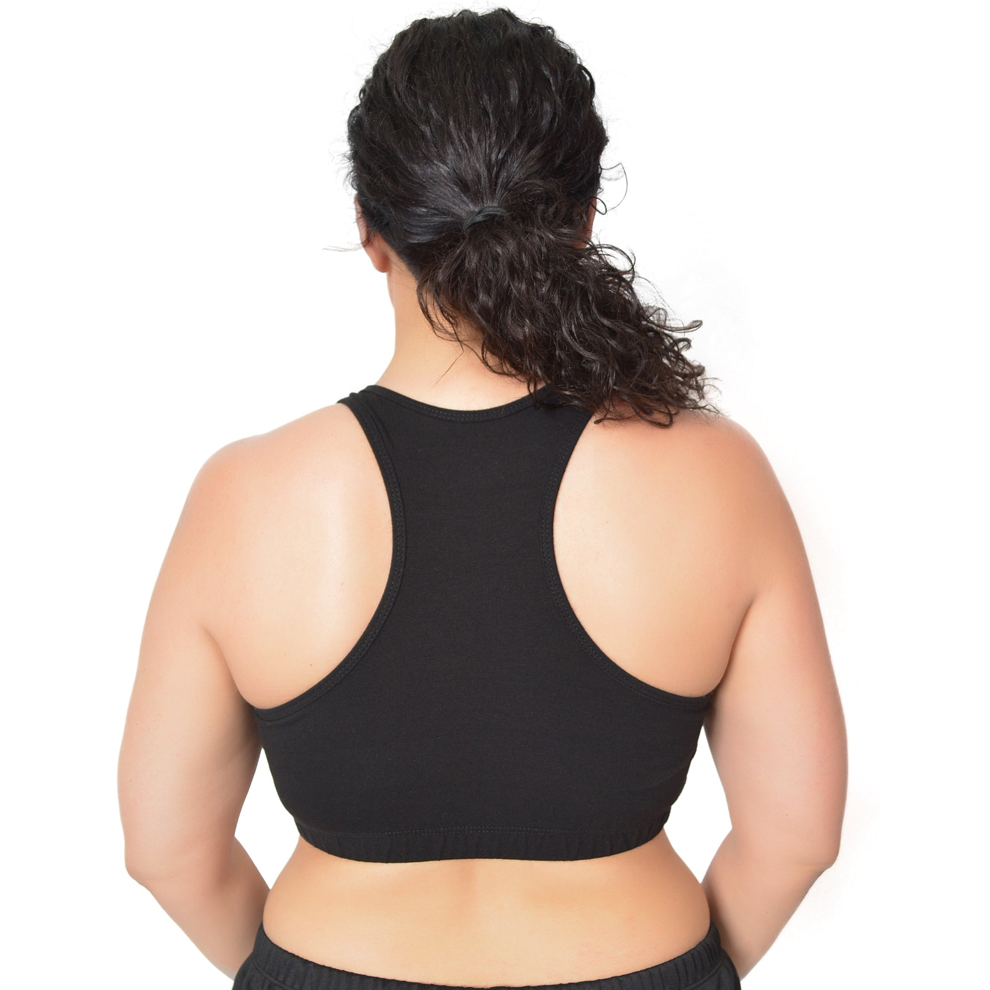 Women's Plus Size Bardot Cotton Racerback Sports Bra