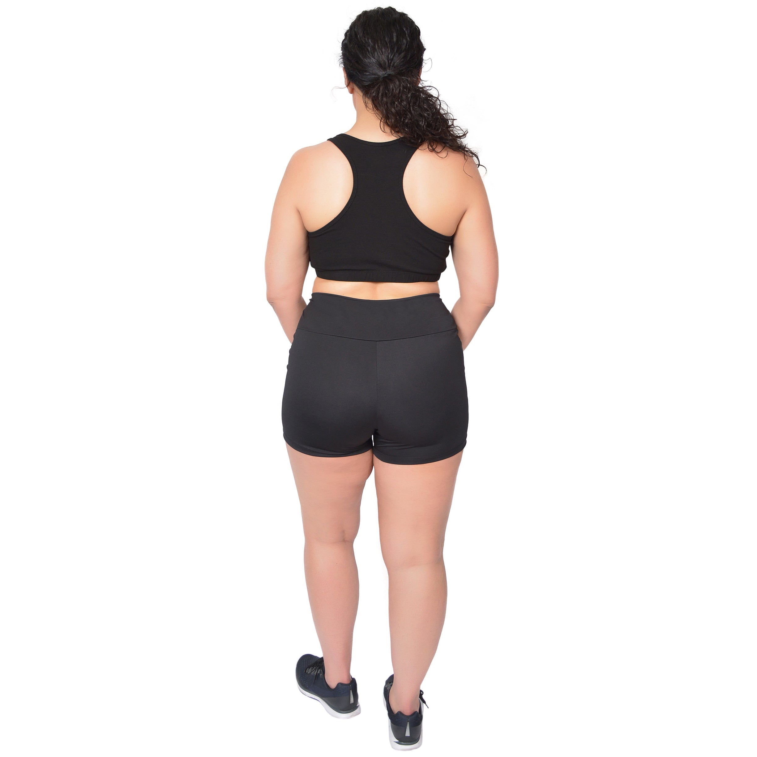 Plus Size Stretch Performance High Waist Athletic Booty Shorts