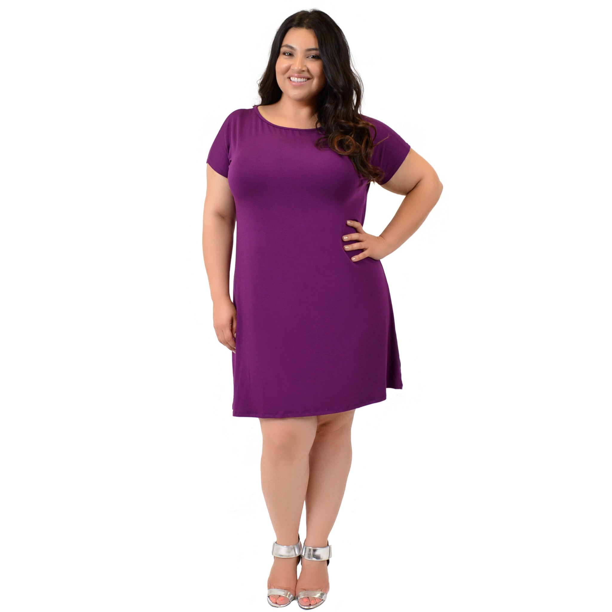 Stretch is Comfort Women\'s Plus Size Short Sleeve Boatneck Shift ...