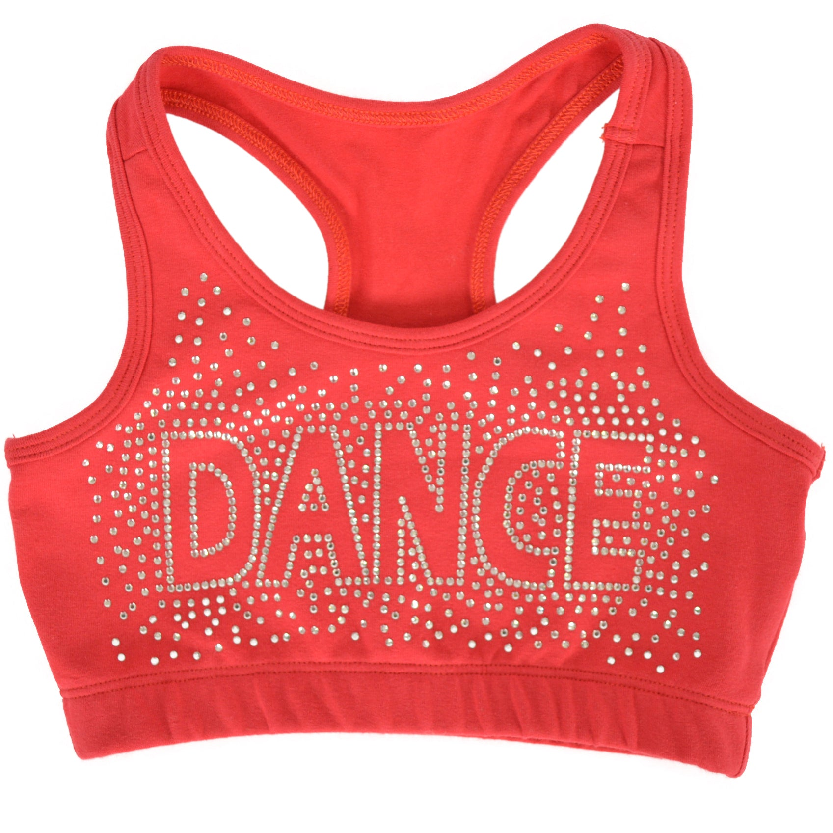 f6a433fbff Stretch is Comfort Girl s Racerback Sports Bra Dance in Rhinestone ...