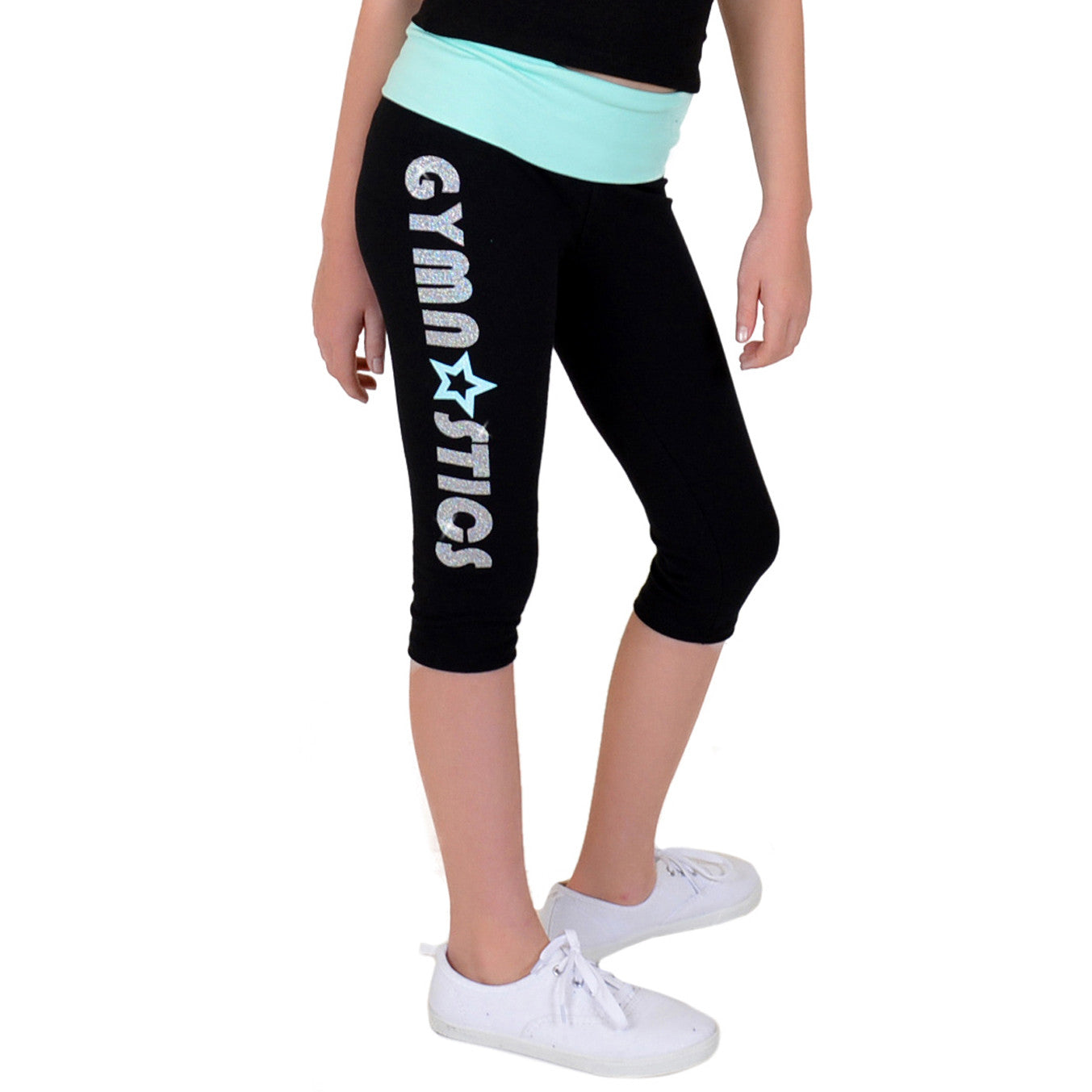 Girl's Mint Star Gymnastics Foldover Capri Leggings