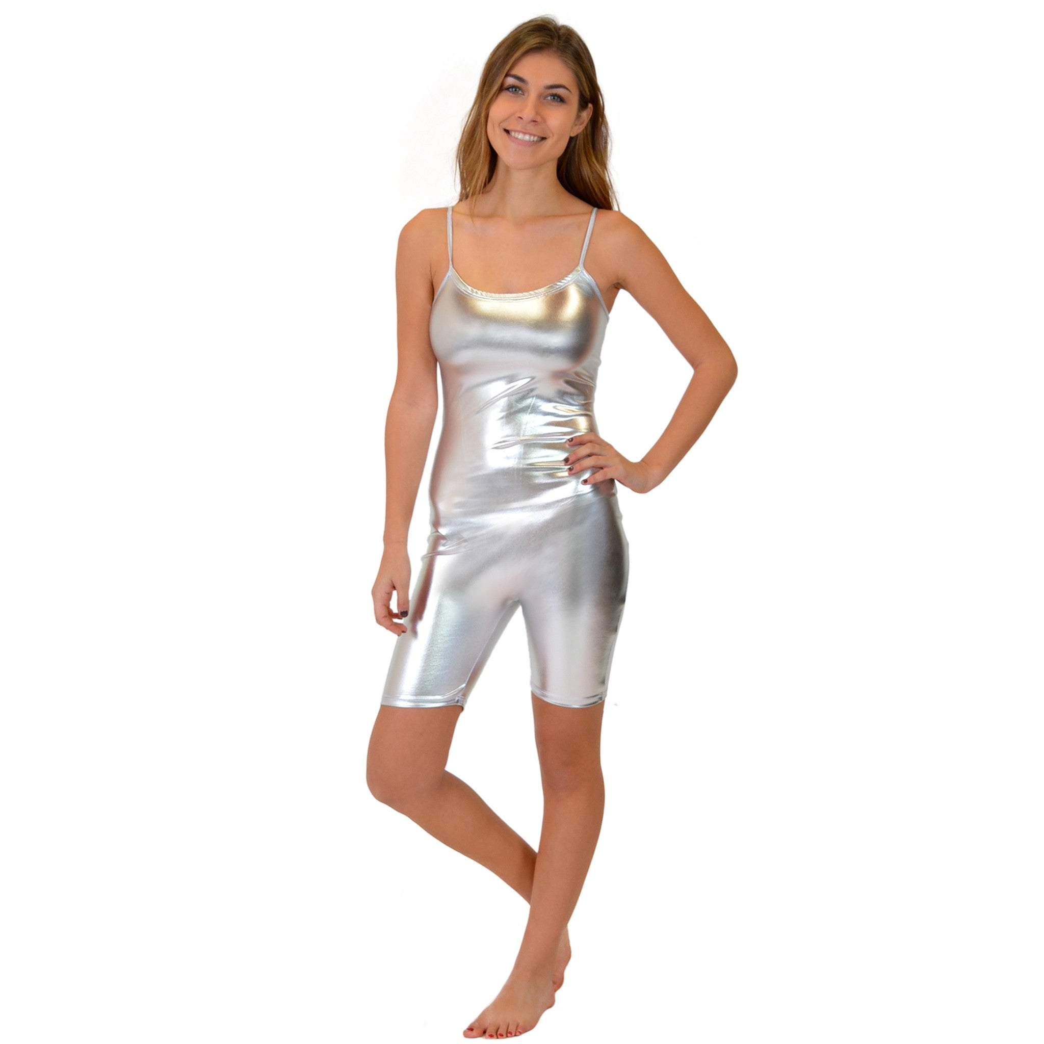 Women's Metallic Camisole Unitard Shorties