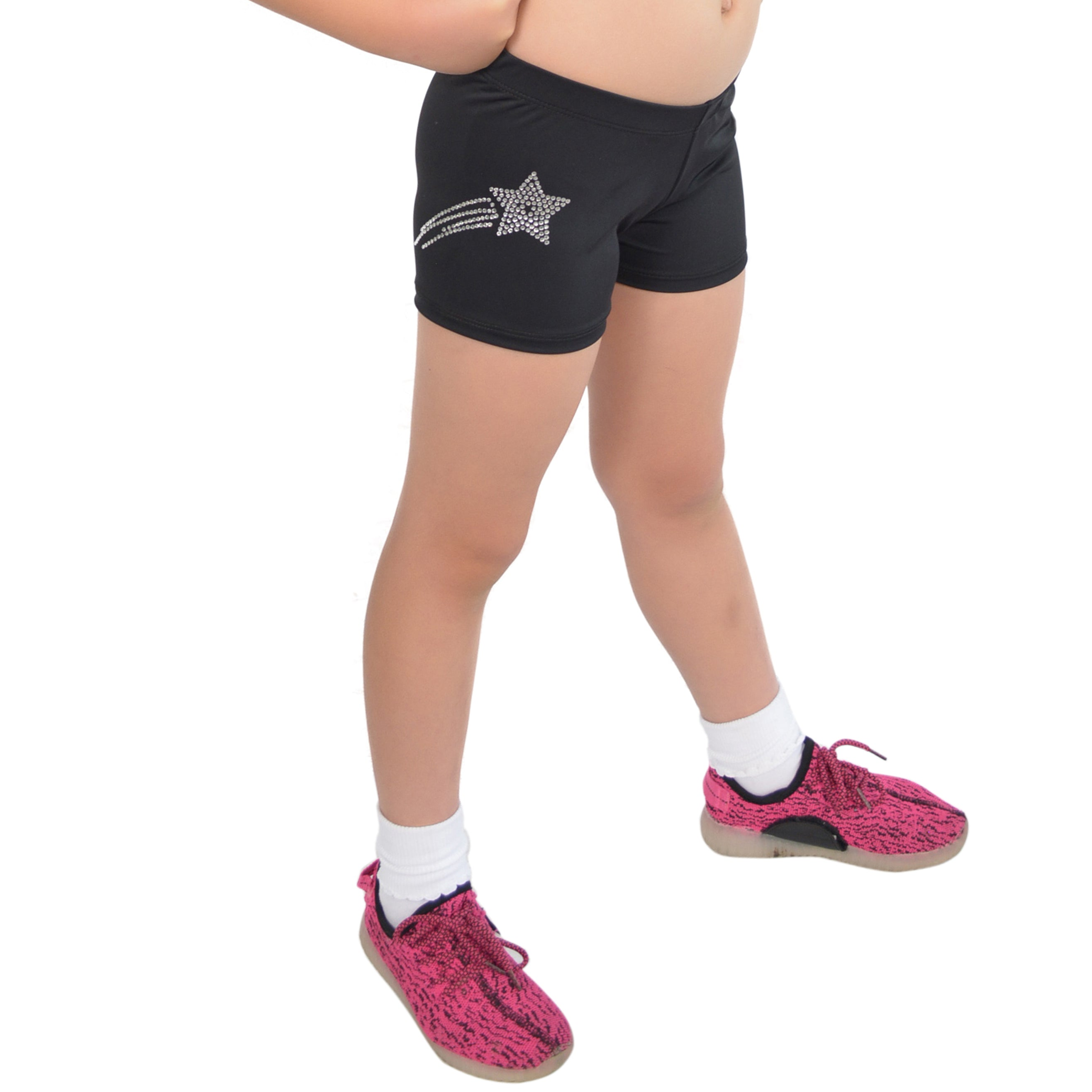 Girl's Spandex Boy Cut Rhinestone Booty Shorts