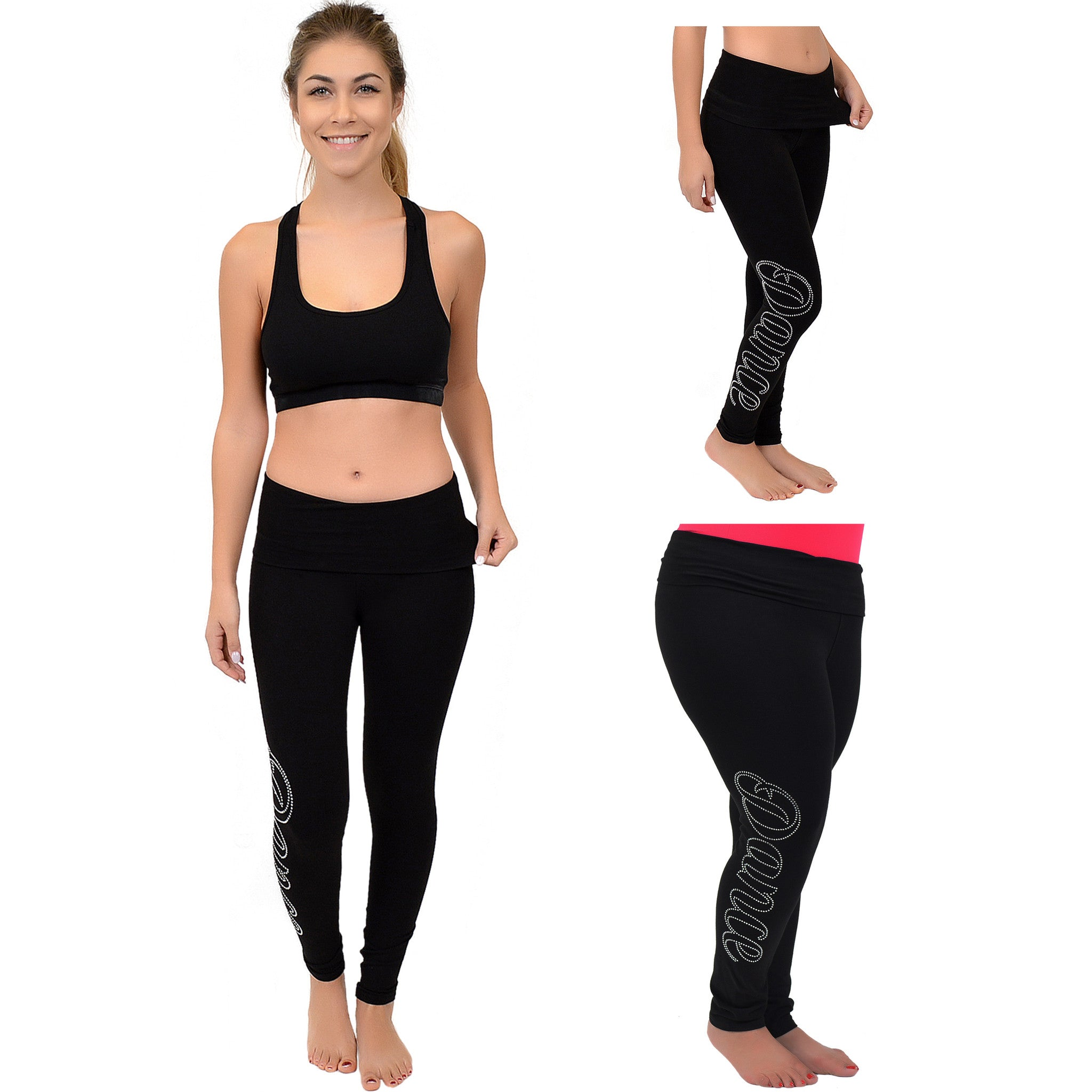 Teamwear Dance Rhinestone Foldover Leggings
