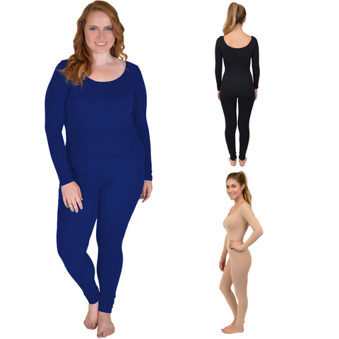 Plus Size COLOR Cotton Long Sleeve Unitard