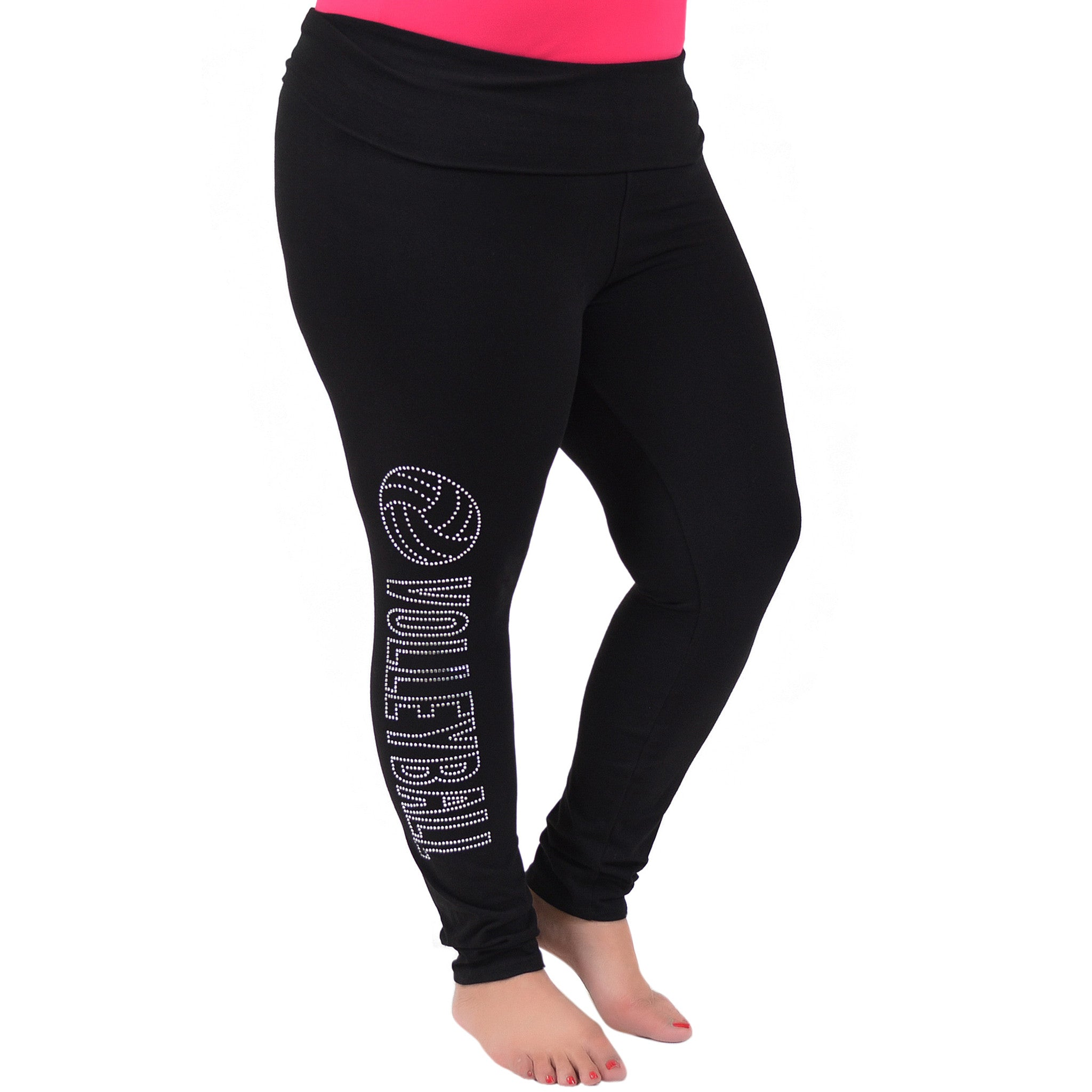 Plus Size Volleyball Rhinestone Foldover Cotton Leggings