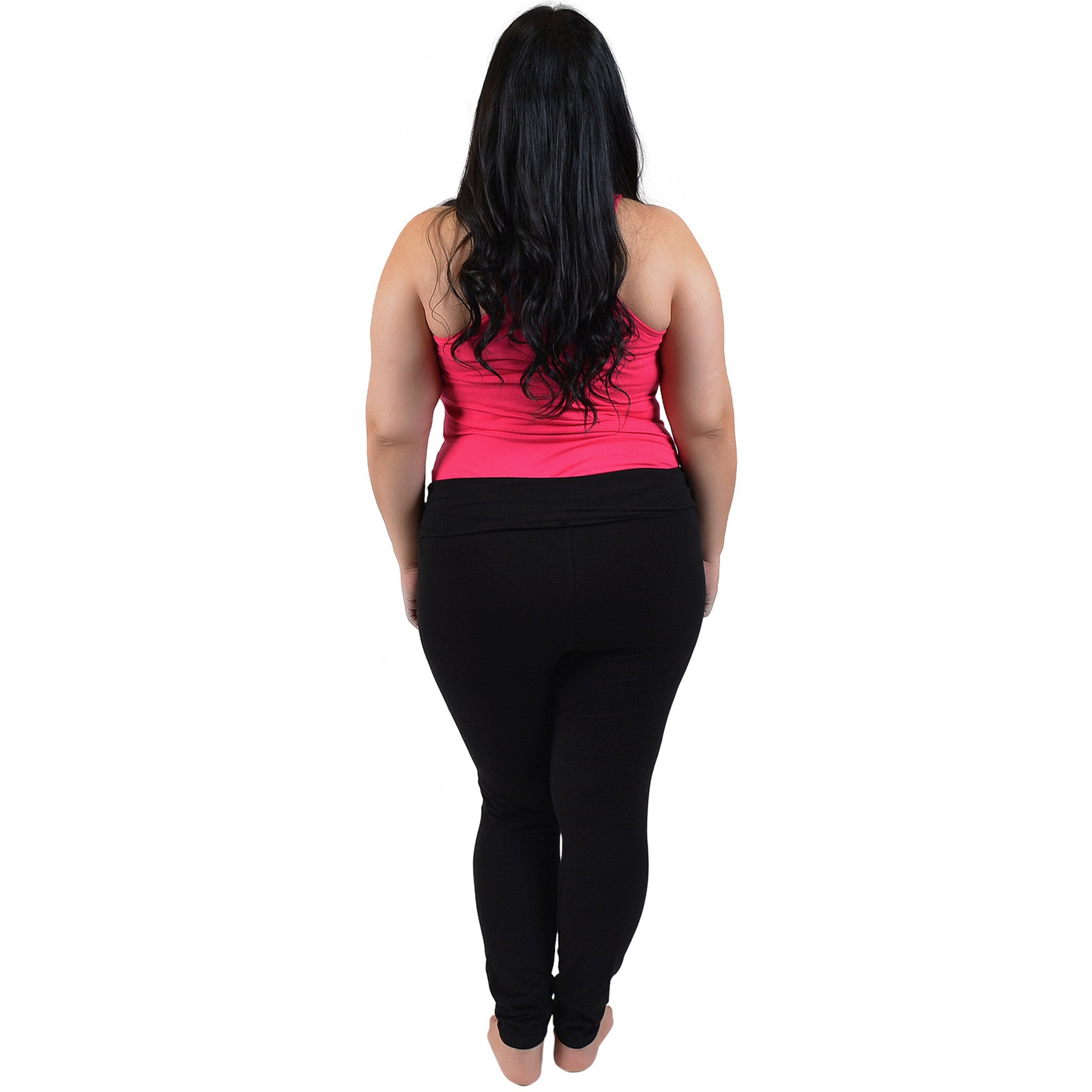 Plus Size Cheer Rhinestone Foldover Cotton Leggings
