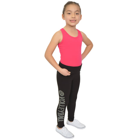 Girl's Volleyball Rhinestone Foldover Cotton Leggings