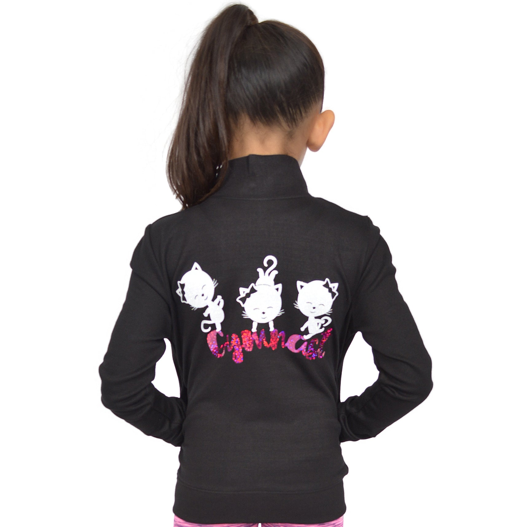 Girl's Glitter Cool Cats Gymnastics Hologram Print Warmup Jacket