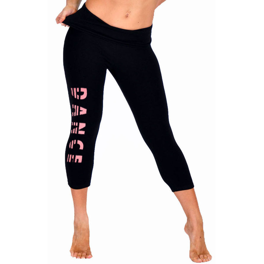 Women's Glitter DANCE Foldover Capri Leggings
