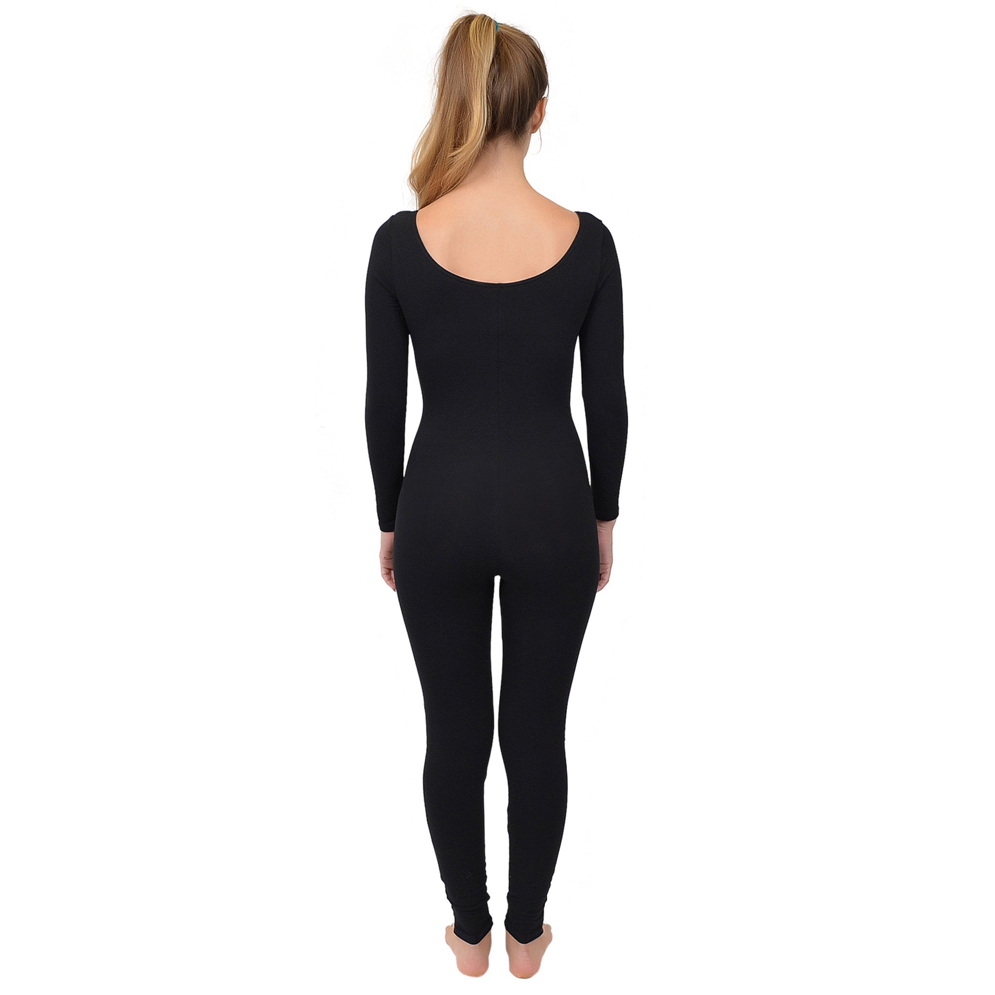 Women's Long Sleeve Scoop Neck Cotton Unitard