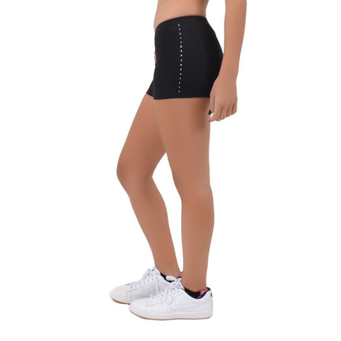 Women's Spandex Boy Cut Low Rise Rhinestone Booty Shorts
