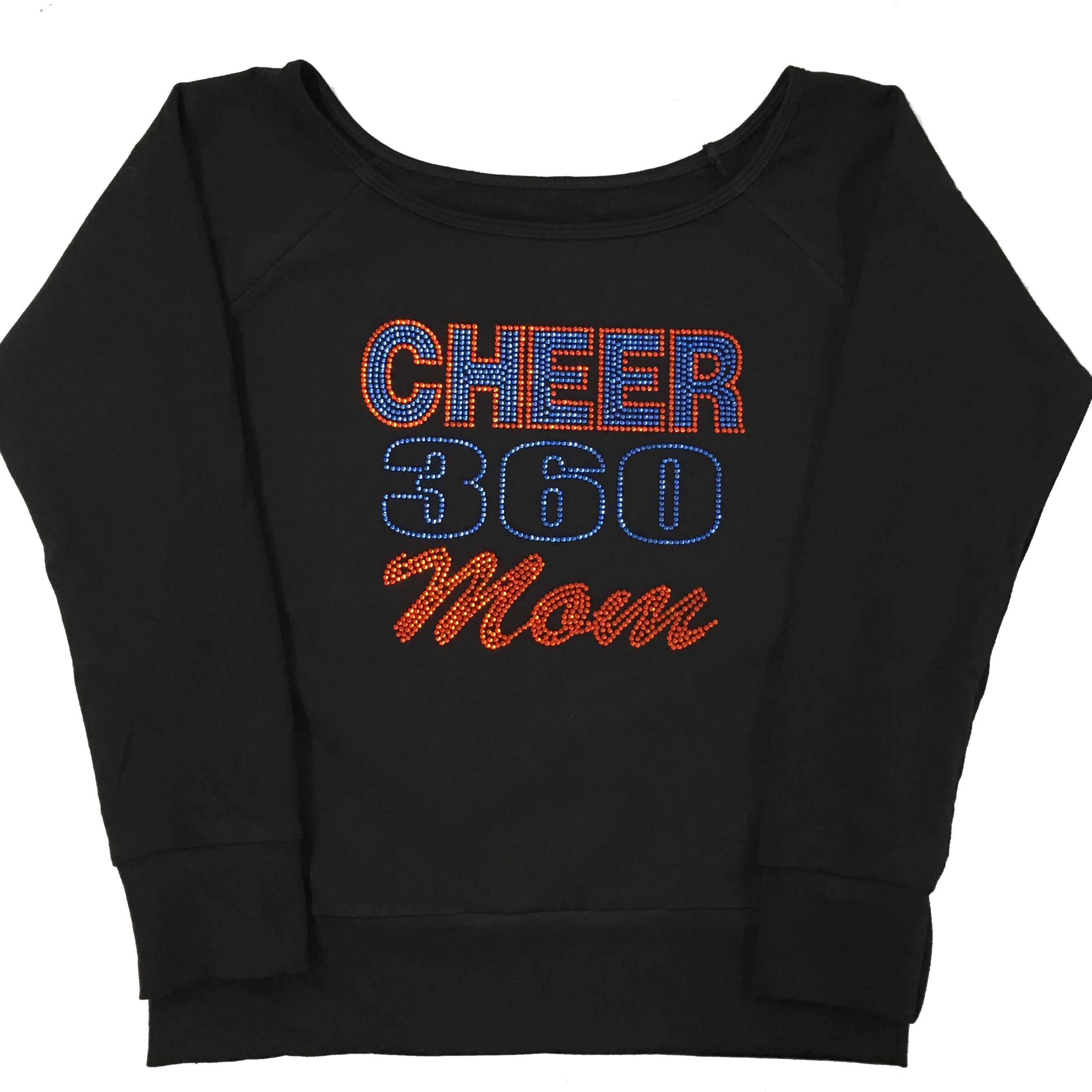 Women's Cotton Long Sleeve Top with CHEER 360 Mom Rhinestones