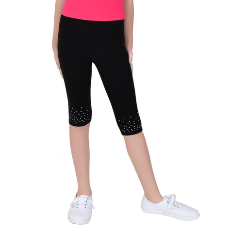 Girl's Rhinestone Capri Leggings