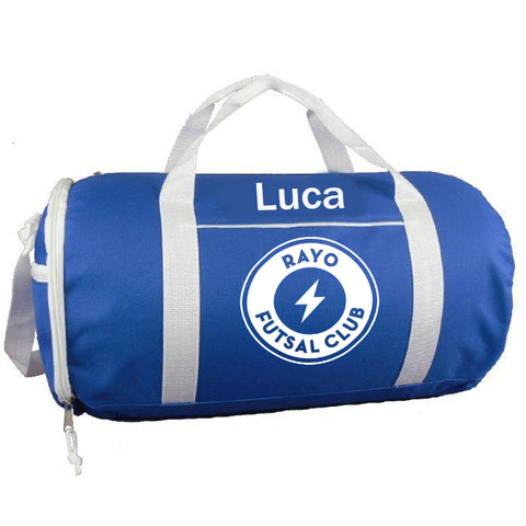 Rayo Futsal Club Two-Tone Sport Gym Roll Duffel Bags with Player Name
