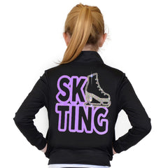 Stretch Is Comfort Girl's and Women's Rhinestone Ice Skating Performance Jacket with Pockets