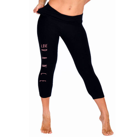 Women's Glitter LOVE DANCE Foldover Capri Leggings