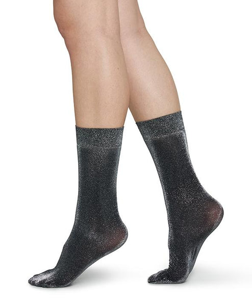 Ines Shimmery Sock in Black/Silver from Swedish Stockings