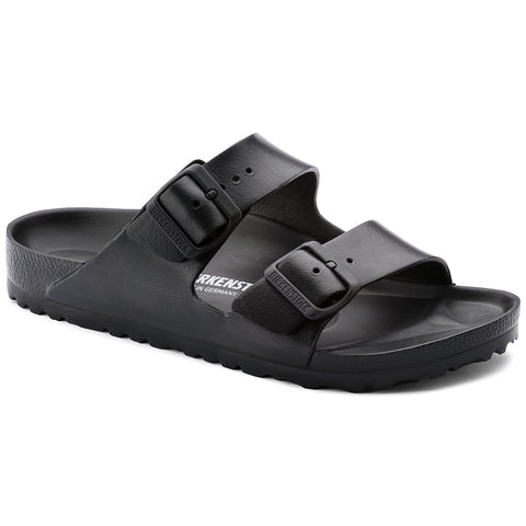 Black EVA sandal, two straps with buckles on top. Birkenstock printed inside.
