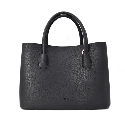 A mid size tote style bag in black pebbled vegan leather. Shoulder straps and a removable crossbody strap with silver hardware.