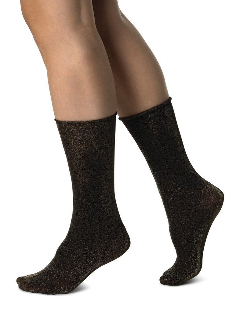 Lisa Lurex Sock in Black/Gold from Swedish Stockings